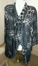Forever Woman Sz 2X Multi Color Ruffle Long Cardigan RN117175 Polyester Blend