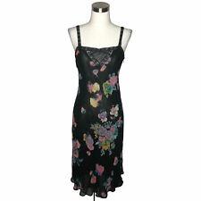 N708 SONIA RYKIEL PARIS Designer Dress Size 38 Black Floral Pink Fit and Flare