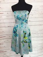 The Limited Strapless Blue Floral Cocktail A-Line Dress with Pockets Size 2