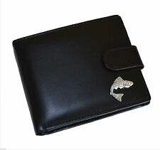 Fishermans Black Leather Wallet with Silver Plated Leaping Salmon Design XLW1