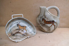 Two Pieces of Lauriana Studio Pottery - Flask & Dish - c. 1960/70's
