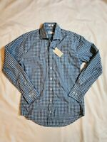 Peter Millar Mens sport Dress Shirt Crown Finish blue Checkered size small