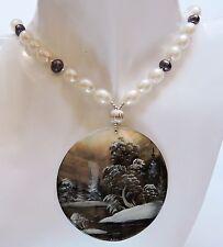 Anhänger Perlen Kette Miniaturmalerei Perlmutt Silber 925 Lackmalerei Fedoskino