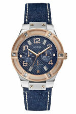 GUESS Rigor W0289L1, Rare Blue Denim Strap and Rose Gold Bezel Watch for Women