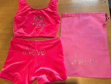 UNICORN PERSONALISED/PLAIN pink Gymnastics Dance shorts & Crop Top All sizes bag