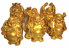 Set of 6 Golden Happy Laughing Lucky Buddha's Ornaments Feng Shui