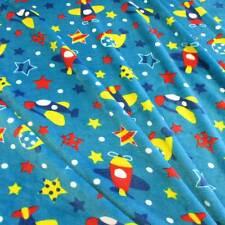 Stoff Meterware Wellness Fleece aqua Flugzeug Sterne Streifen Doubleface Neu