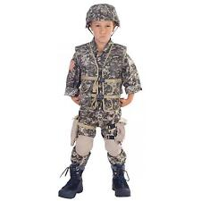 Army Ranger Deluxe Child Costume With Helmet Large 12-14