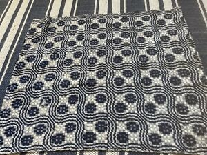 Antique Hand Woven Indigo Blue Wool Coverlet Piece For Crafting & Repurposing