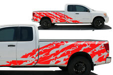 Vinyl Graphics Decal SHRED Wrap Kit for Nissan Titan Truck 2004-13 Long Bed RED