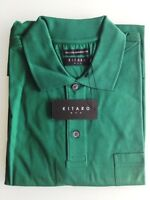 Kitaro Men Polo-Shirt Herren Kurzarm Dunkelgrün Unifarben Baumwolle Gr. L