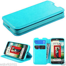 LG OPTIMUS L70 EXCEED 2 REALM WALLET FOLIO CASE W/ CARD SLOT COVER BLUE