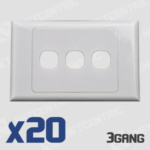 20x 3 Gang Face Plate Wall Cover Electrical Port Jack Clipsal Compatible BULK