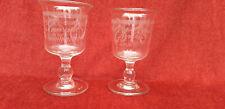 """2A)  Anciens verres soufflés décor gravé sablé, """" Amitié et Souvenir """""""