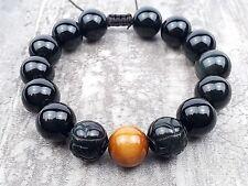 Men's Ladies Shamballa Yoga Healing Bracelet 12mm Obsidian Tiger Eye Stone beads