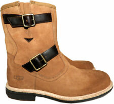 $280 Ugg Australia Mens Shearling-Lined Suede Moto Boots Biker Buckled Booties 9