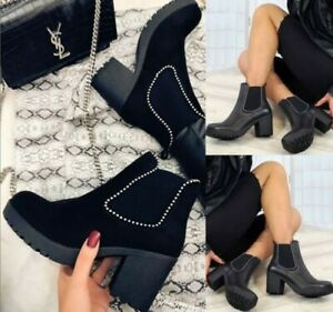 LADIES WOMENS ANKLE BLOCK CHUNKY HIGH PLATFORM HEELS SHOES CHELSEA BOOTS SIZE