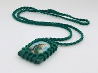 scapular/Necklace Escapulario De San Judas Trenzado Color Verde Rectangular