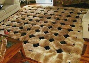 "40in x 55in Alpaca Fur Rug. ""Octagon"" Design. Home and Decor. Genuine Alpaca Fur"