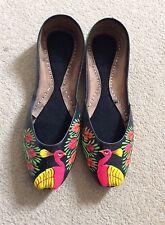 De mujer asiáticas pavo real pintado a mano Khussa Bombas Zapatos Talla 41/8