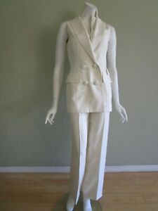 ZANG TOI Double Breasted Sleeveless High Waist Silk Pant Suit in Cream Size 2/4