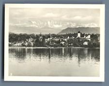 Suisse, Morat (Murten), Vue générale et les Alpes  Vintage silver print. Switzer