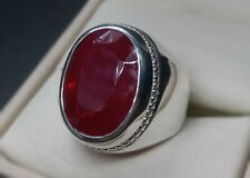 Rare Dark Deep Red Ruby Mens Ring Sterling Silver Rubin 925 Handmade Yaqoot Ring