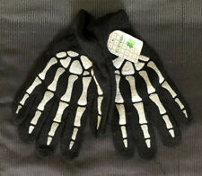 Clover Brand Black Gloves With White Skeleton Hand Bones Printed On New NWT