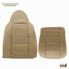 2001 Ford F250 F350 F450 F550 Lariat Driver Bottom & Lean Back Leather Cover Tan