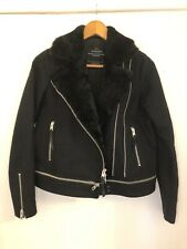 Black All Saints Biker Jacket Coat Size 6 Wool
