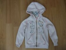 Girls Hooded Top age 3 years full zip beige 'LOVE'