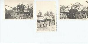 3 x Fotos Panther Panzer mit Panzerfahrer schöne Aufnahmen wahr. G .Deutschland