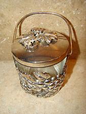 Condiment Jar With Handle Silver Plate Grape Leaf Design & Glass  #4