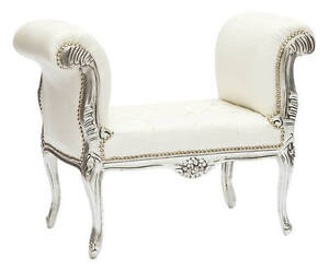 Bench Wooden Leaf Silver Style Louis XV Eco Leather White