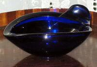 Retro Art Glass : Bristol blue coloured Art Glass Dish / Ashtray - 1960's