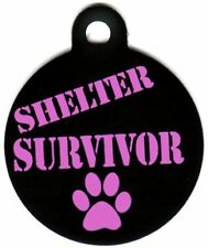 Engraved Pet ID Tag Shelter Survivor Pink Paw