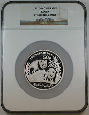 1991 China Silver 50 Yuan Panda 5 Oz Proof Coin, NGC PF-68 UC Ultra Cameo