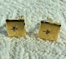 Vintage Atomic Starburst 14K Gold Cuff Links