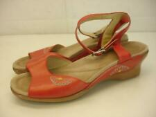 Women's 9.5 10 40 Dansko Coral Red Embroidered Leather Ankle Strap Sandals Clogs