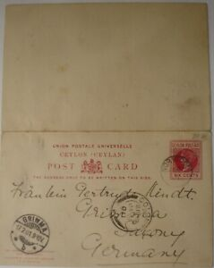 1901: 6 cents carmine Reply Postcard: Colombo to Grimma (Leipzig).