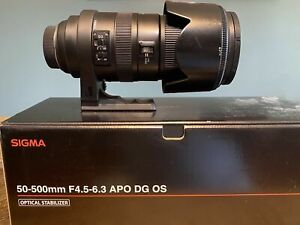 SIGMA APO Lens 50-500mm F4.5-6.3 DG OS HSM Lens for Nikon F Mount w/ Hood & Case