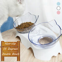 Double Pet Cat Dog Bowl Food Water Feeder Feeding Dish Elevated Stand Non-slip