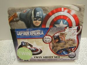 "Captain America ""The First Avenger"" Twin Size 3 Piece Sheet Set Cotton Blend NIP"