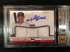 2011 USA BASEBALL TRIPLE JERSEY AUTO RED ADDISON RUSSELL-MINT 9-/25-LOW POP-CUBS