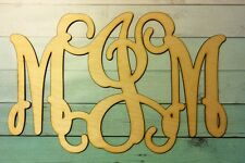 "18"" Wooden Standard Interlocking Vine Monogram 18in x12 Unfinished  Birch 28in."