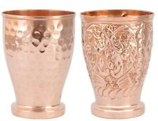 2 Pcs Mugal & Hammered Style Copper Glass Drinking Water with Free Fast Shipping