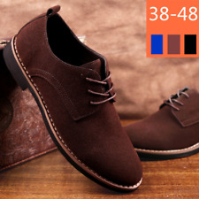 Men's Suede Casual Shoes Oxfords Lace Up Flats Business Work Dress Shoes Comfort
