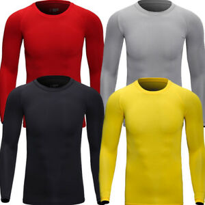 Men Cycling Base Layer Bicycle Long Jersey Sports Running Shirt Moisture Wicking