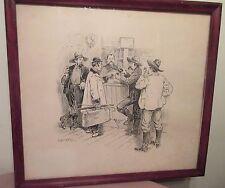 antique 1800's original pen ink Walter Gallaway Puck mag illustration drawing