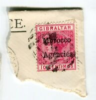 MOROCCO AGENCIES; Early 1900s Optd. issue fine used POSTMARK PIECE